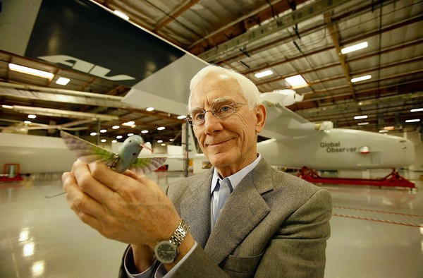 AeroVironment Chief Executive Timothy E. Conver said the decrease in drone sales was expected. Above, Conver shows off a Nano Hummingbird drone last year.