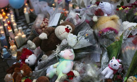 A memorial to the victims of the Sandy Hook school shootings in Connecticut. The children killed by US drones in north-west Pakistan 'have no names, no pictures, no memorials of candles and teddy bears'.