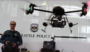 Officer Reuben Omelanchuk demonstrates a drone last spring.