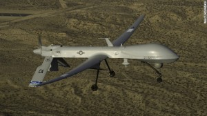 A U.S. Air Force MQ-1 Predator UAV assigned to the California Air National Guard's 163rd Reconnaissance Wing flies near the Southern California Logistics Airport in Victorville, California, on January 7, 2012. Iranian jets fired on a Predator drone on November 1 over the Persian Gulf, an incident the Air Force says took place over international waters.