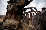 The wreckage of a car in Shabwa Province, Yemen, stood as testament to the destructive abilities of American drone strikes.